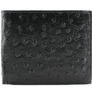 Slim Ostrich Bi Fold Wallet EMB 528ZO